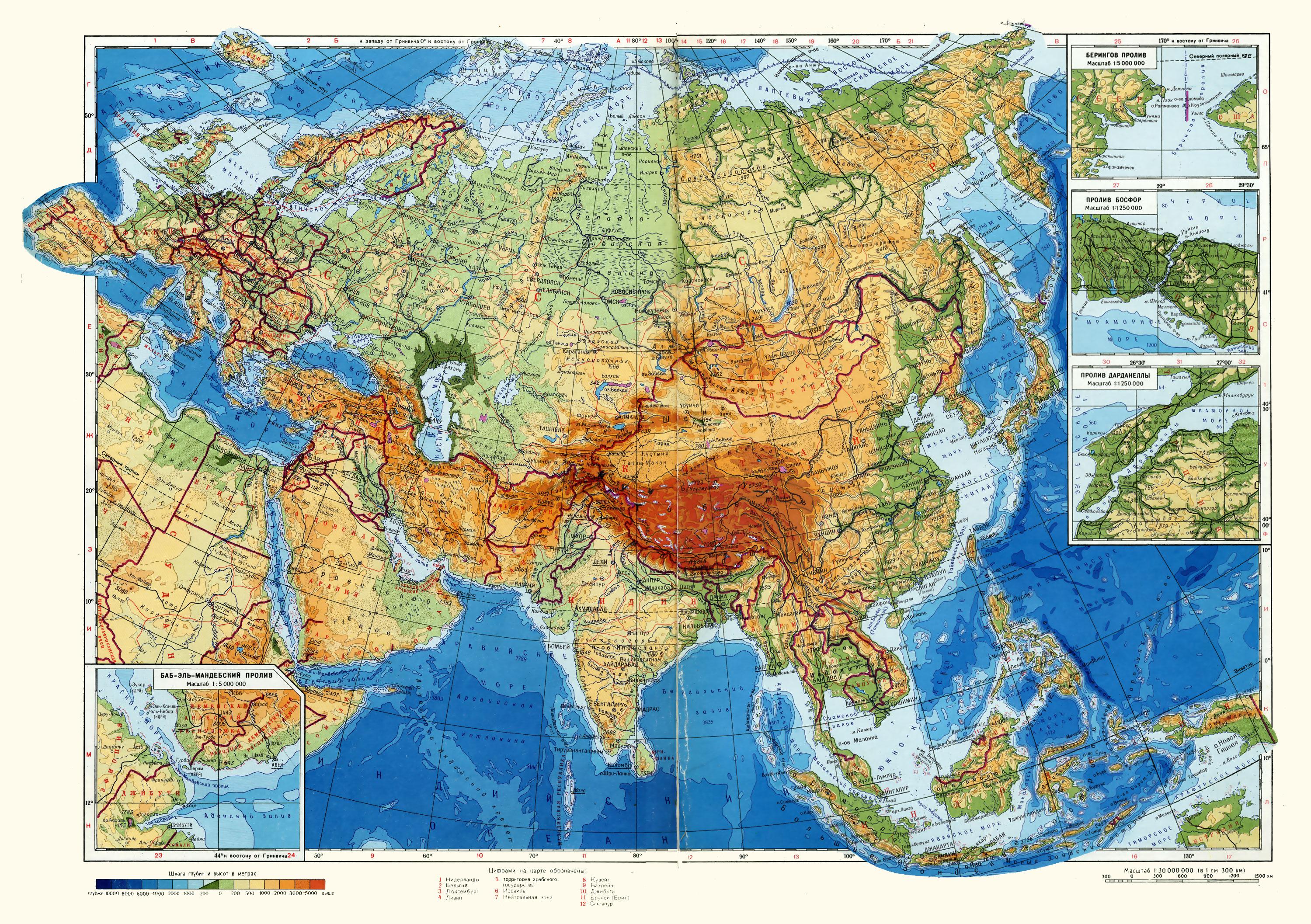 Физическая контурная карта африки 7 класс крупным планом