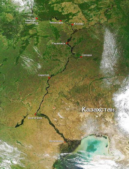 Река Волга. Вид со спутника