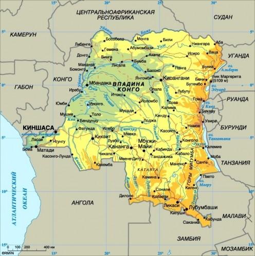 Карта республики конго