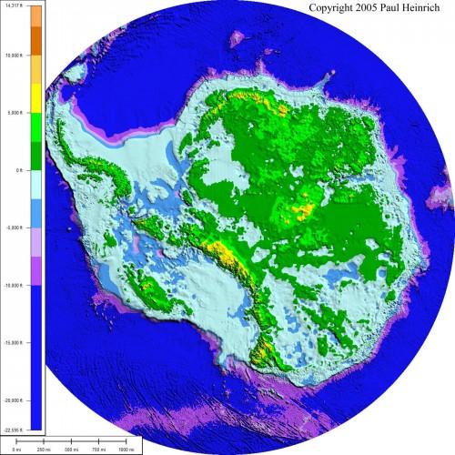 Карта подледного рельефа Антарктиды