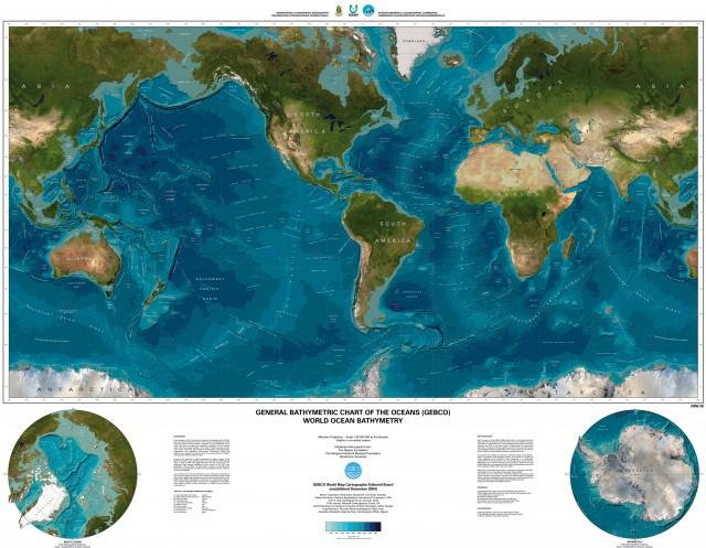 Карта рельефа Мирового океана