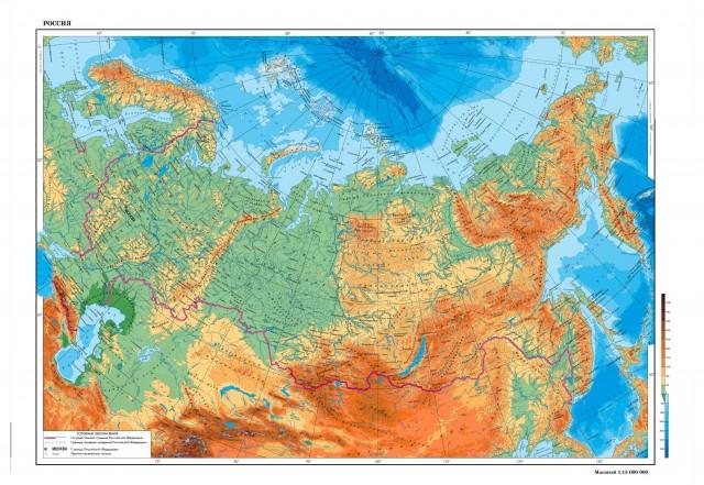 Россия (физическая карта)