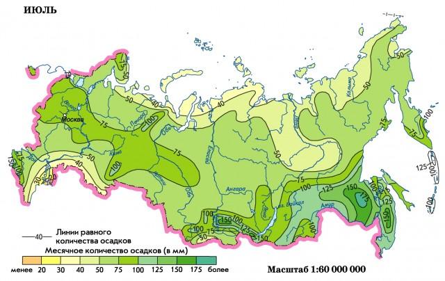 Во внутригодовом распределении на большей части страны наблюдается преобладание осадков летнего периода.