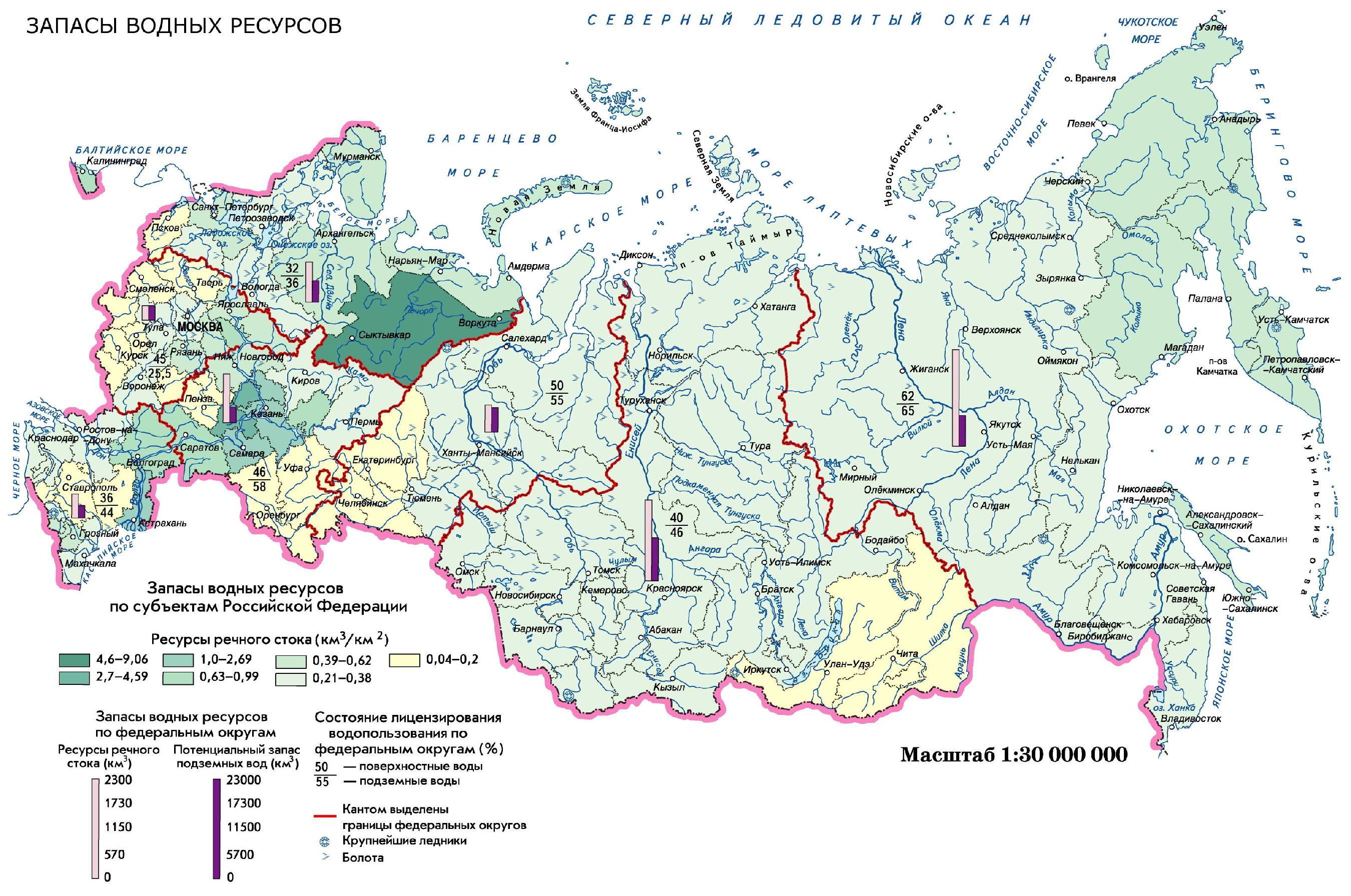 8 класс оценивание обеспеченностводными ресурсами крупных регионов россии