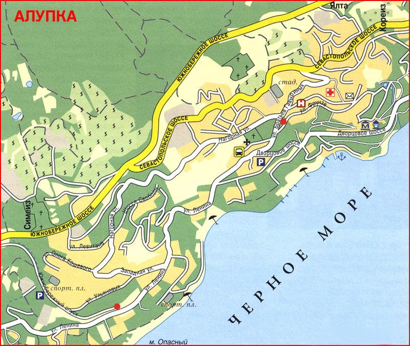 Карта - схема Алупки