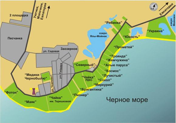 Карта Заозёрного, с указанием