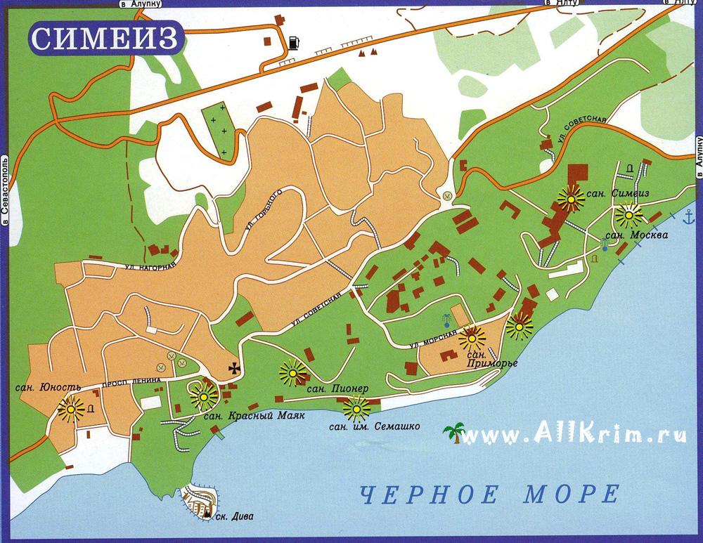Карта-схема Симеиза с