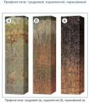 Профили почв: тундровой, подзолистой, чернозёмной